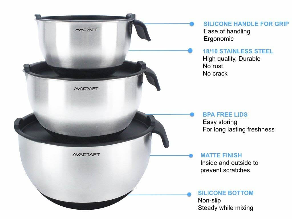 Best mixing bowls for hand mixers. Avacraft steel bowl, best stainless steel