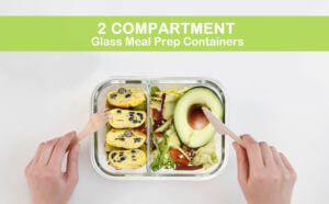 RENPHO Glass Meal Prep Containers Divided