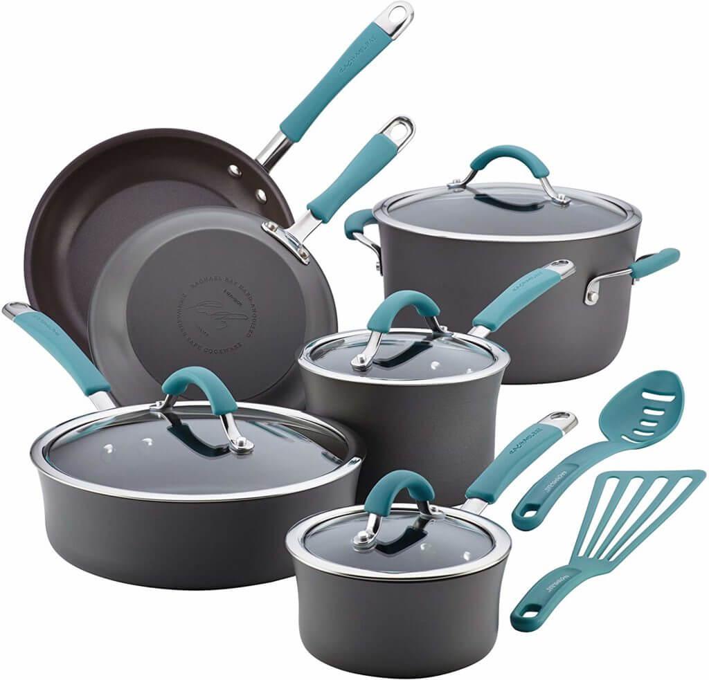 Rachael Ray Cucina Hard Porcelain Enamel Nonstick Cookware Set