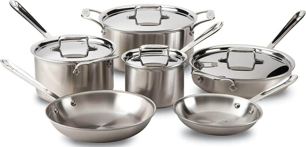 All-Clad BD005710-R D5 Stainless Steel 10-Piece Cookware Set