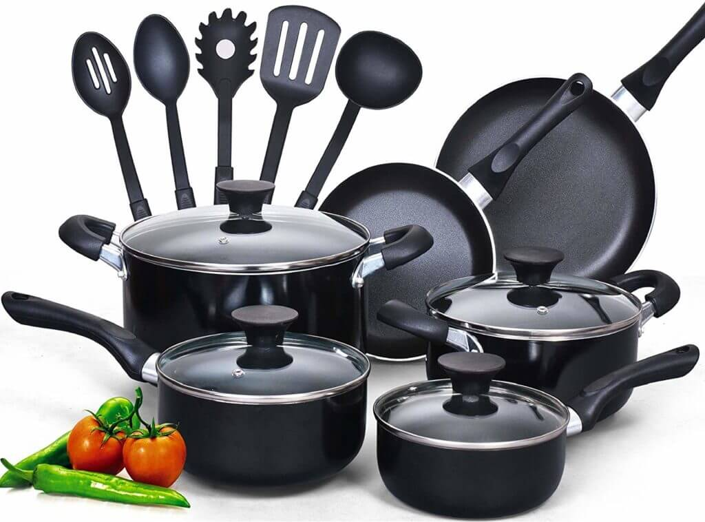 Cook N Home 15-Piece Non-stick Stay Cool Handle Cookware Set
